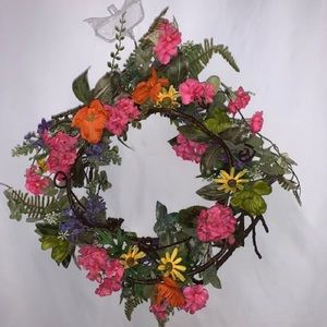 "NWT floral wreath Spring, Summer Easter 18""-20"""
